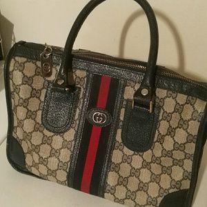 Gucci Boston blue canvas bag